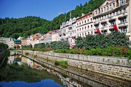 Landscape city center in Karlovy Vary, Czech Republic - May 2011