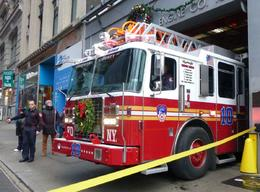 Ladder 10 fire truck across the road from the 9/11 memorial , Mandy3 - December 2014