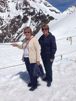 My wife Jan, and my Cousin Susan on the ice on the Jungfrau. , Kevin J - August 2016
