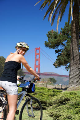 A cyclist gets ready to ride across the San Francisco Golden Gate Bridge - April 2011