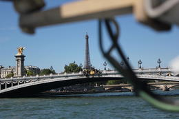 This picture was clicked on the water bus. It was great to see the Eiffel Tower in person for the first time. , Rijaz - August 2013