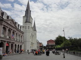 Busy French Quarter by St. Louis Cathedral and Jackson Square , Lourdes S - June 2012