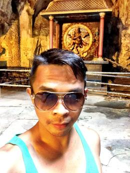 Selfie inside the top of the cave... A lot of statues of hindu deities. , Patrick R - July 2014