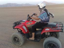 My lady, 1st time driving a quad bike on her own! Sinai Desert, Egypt, Robert D - November 2009