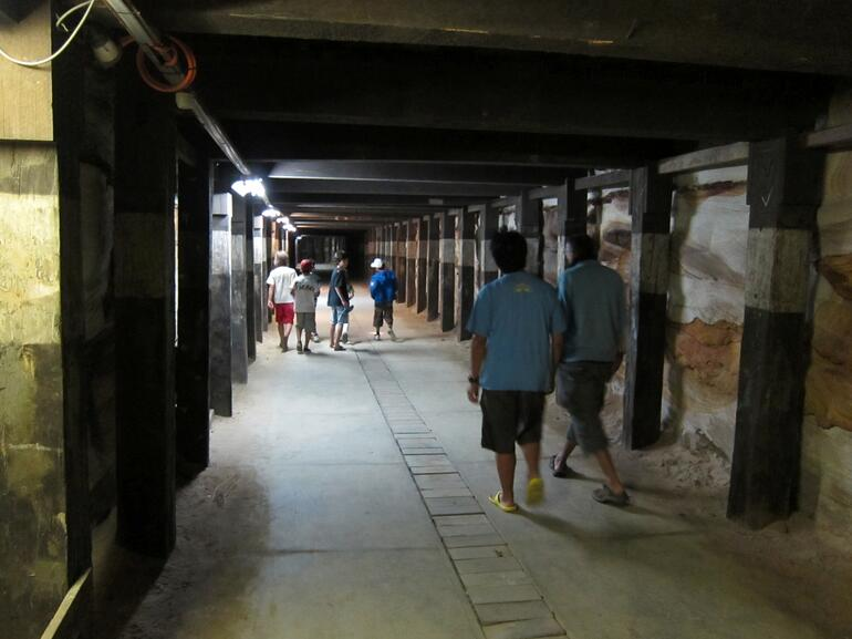 One of the two tunnels -