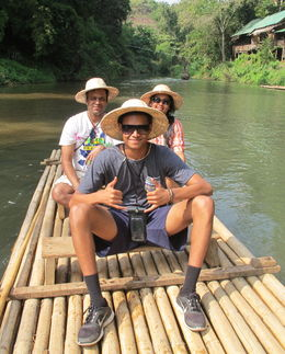 Family - Sister and Nephew on the Rafting trip on the Ping River , Sanjeev P - December 2015