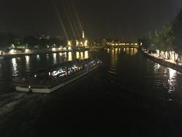 Night view of boats on the Seine , Chris V - August 2017