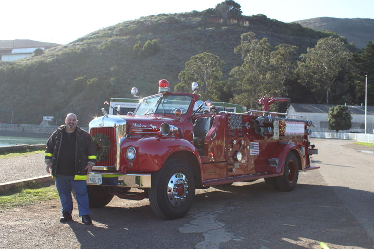 James and the 1955 Big Red Shiny Mack Fire Truck - San Francisco