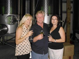 Traveling buddies enjoying our wine tasting! , Pamela B - July 2013
