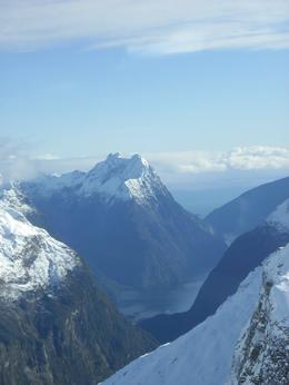 Here's a great view of Mitre Peak as we are flying in to the Milford Sound area. It's so beautiful., Monica M - August 2010