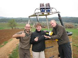 Champagne with the balloon team., Debbie M - March 2008