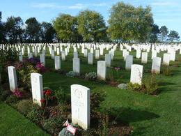 A beautiful resting place for many Canadian soldiers. We were struck by the young ages of many of the soldiers , Herb - October 2012