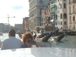On the grand canal boat tour with tour guide visible, Bosede S - October 2007