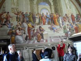 One of Raphael's Rooms with representations of different historical figures. Michaelangelo is the dark haired man sitting at the bottom in forefront of picture, Daniel C - April 2010