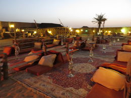 This is a photo of the Bedouin Camp where you sit down to a sumptuous fest of local cuisine, it was a great atmosphere, lit up by candles and kerosene lamps giving a great ambience. There were quite..., Jodie A - April 2015