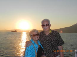 Watching the sunset on our dinner cruise. , James K - July 2014