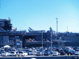 San Diego Harbor Tour - Friday, August 15, 2014. (Just one part of the) USS Midway Aircraft Carrier as seen from the harbor tour boat on San Diego Bay. , Carrie Mc - August 2014