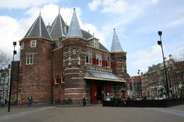 This is the Restaurant In de Waag. This is a great restaurant in a building with a long history. It is gorgeous inside and lit by 300 candles in very large candelabras. - April 2008