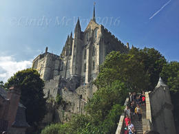 Inside Mont St-Michel looking up towards the Abbey , Cindy M - September 2016