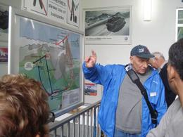 Our guide indicates how we will travel to the Zugspitze peak by cable car and come back down the mountain by cogwheel train. This was a great adventure and he was very good. We enjoyed his company on ... , David F - June 2010