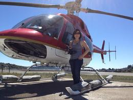 Getting on the helicopter, Jules & Brock - July 2012