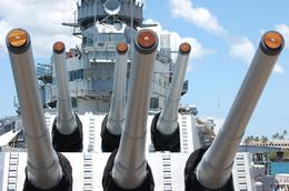 This is just a few of the guns on the Mighty Mo., Tina C - July 2008