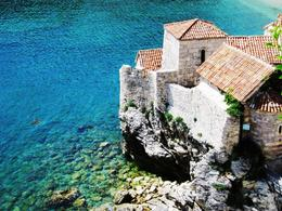 The edge of walls of the Old Town of Budva -- that water was amazing! , BethanieKay - May 2013