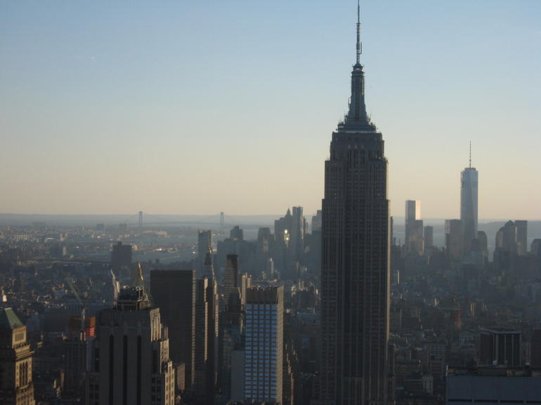 Empire State Building, Freedom Tower far right and Brooklyn Bridge far left - New York City