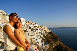 My wife and I posting at Fira Town @ Santorini , tsong - January 2011