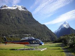 Here is our helicopter as we landed near Milford Sound. You can see Mitre Peak off to the right., Monica M - August 2010
