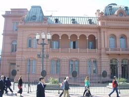 This was the balcony where Evita gave her speeches. There were 2 political parties at the time, one with red and the other with white as the party colors, so they made a pink house showing the unity..., Kathleen S - December 2010