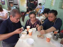Us eating tofu served three different ways. Yum! , Charity - November 2017