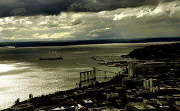 Taken atop of the space needle and the clouds caught my attention. , Ira F - July 2012