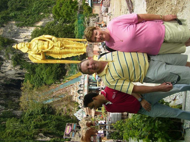 Anne & Gordon at Batu Caves entrance - Kuala Lumpur