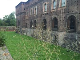Walking around the Sforza Castle walls, before going inside. Interesting story about the cats that reside where the moat used to be. , Kristyne T - August 2016