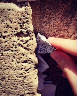 Hopes for the world written on a note for the Western Wall. , badashdesigns - July 2016