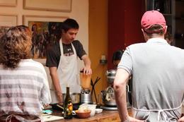 Making the salsa in a blender, Bandit - December 2013