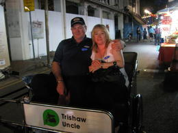 Sharon and Ron riding a Trishaw , ronald w - November 2013