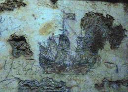 One of several sketches said to have been drawn on the dungeon wall at The Castillo de San Cristóbal by a Spanish Captain Awaiting Execution. This is barely visible in the darkness unless you ... , Paul D - February 2014