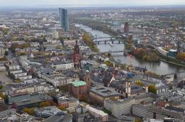 This photograph points towards Romerberg in the centre of Frankfurt. The cathedral dom and St Paul's church can also be seen as well as the old Nicholas church. , David Lally - December 2014