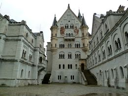 Court yard at Neuschwanstein Castle complete except for an unfinished chapel , Galen S - June 2016