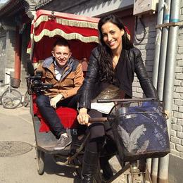 """That time Asha took me on a rickshaw ride through Beijing. Moments later she nearly ran me over."" – Brock, Asha & Brock - July 2013"