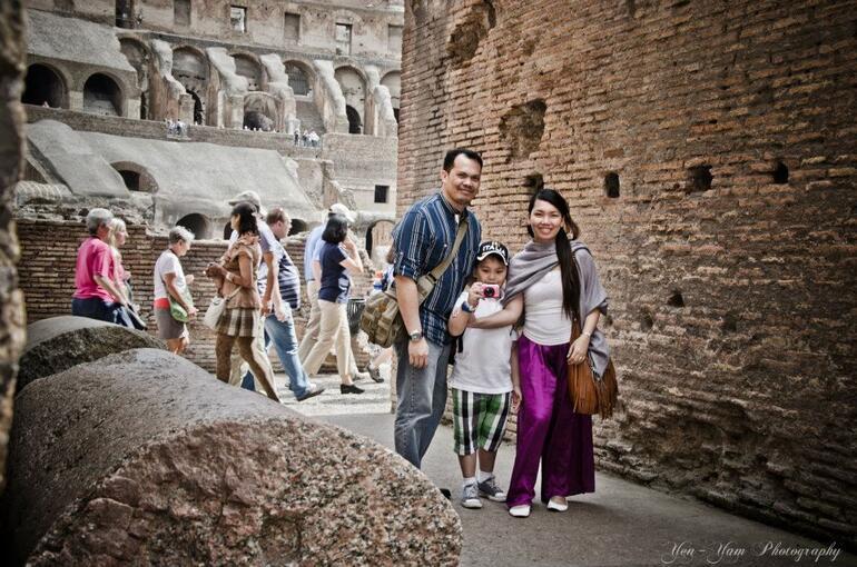 first family pic in Colloseum, Roma - Rome