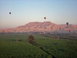 Flying over the crops and looking out to the mountains of the West Bank - October 2008