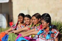 Girls in traditional Oaxaca dresses., Bandit - November 2013