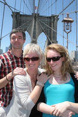 Christopher, Janet and Beth from the UK on Brooklyn Bridge, Janet S - June 2010
