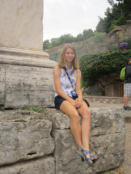 Abigale enjoys the views of Palentine Hill and the Forum. , Ron P - July 2014