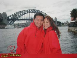 Wearing our red ponchos, getting ready for our Sydney Harbour ride!, Tze Yi K - March 2008