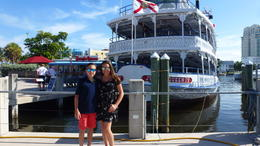 Nicky and Ally before boarding the Jungle Queen , Luisa E B - August 2017