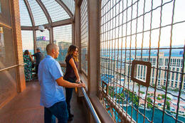 Tourists overlooking the Las Vegas Strip from the Eiffel Tower Experience at Paris Las Vegas., Viator Insider - December 2017